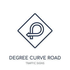 degree curve road sign icon. degree curve road sign linear symbol design from Traffic signs collection.