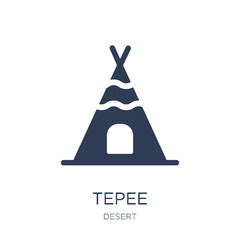 Tepee icon. Trendy flat vector Tepee icon on white background from Desert collection