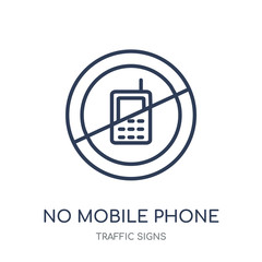 No mobile phone sign icon. No mobile phone sign linear symbol design from Traffic signs collection.