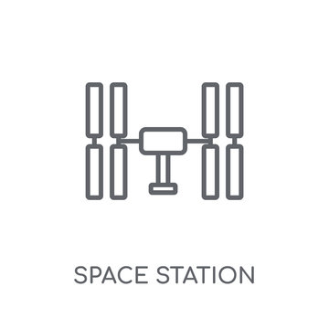 Space station linear icon. Modern outline Space station logo concept on white background from ASTRONOMY collection