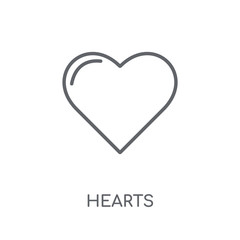 Hearts linear icon. Modern outline Hearts logo concept on white background from Birthday party and wedding collection