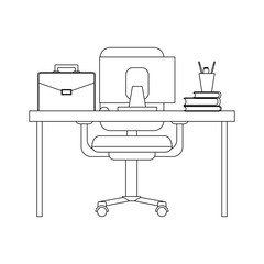 Office desk with computer black and white