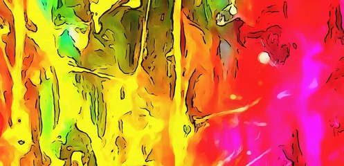 Chaotic lines on soft background in cartoon style. Abstract art in very bright juicy colors. Surreal painting texture. Psychedelic modern art. Warm saturated backdrop. Funny style crazy artwork.