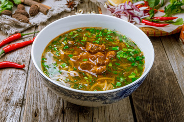 Vietnamese soup Pho with stewed beef