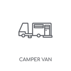 Camper van linear icon. Modern outline Camper van logo concept on white background from camping collection