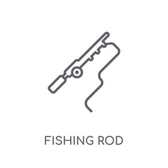 Fishing Rod linear icon. Modern outline Fishing Rod logo concept on white background from camping collection