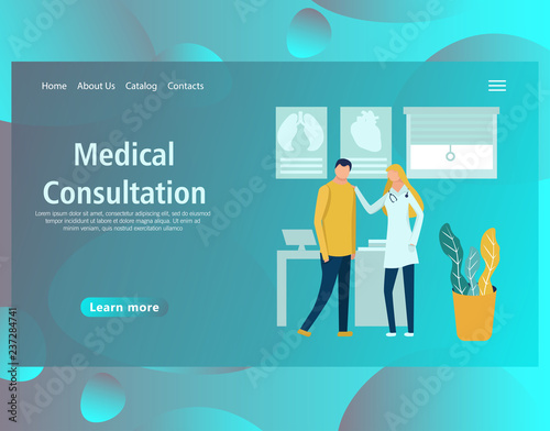 Web page design template for online medical support, health care