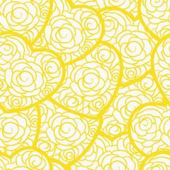 Yellow lemon doodle hearts seamless pattern