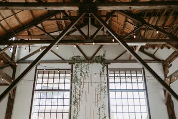 Industrial handmade diy copper and vine botanical hanging backdrop