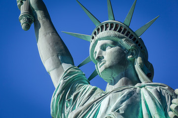 Closeup of the Statue of Liberty, New York City, USA