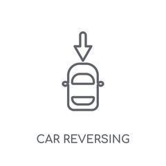 car reversing light linear icon. Modern outline car reversing light logo concept on white background from car parts collection