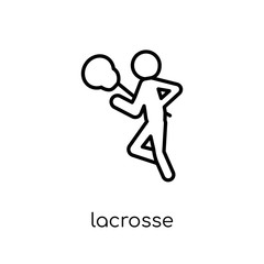 Lacrosse icon. Trendy modern flat linear vector Lacrosse icon on white background from thin line sport collection
