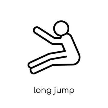 long jump icon. Trendy modern flat linear vector long jump icon on white background from thin line sport collection