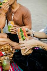 Fresh vegan sandwiches at the beach