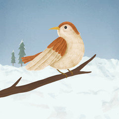 Hand-drawn cute sparrow on a branch