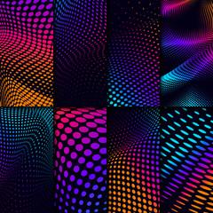 Vibrant halftone on black background vector set