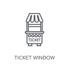 Ticket window linear icon. Modern outline Ticket window logo concept on white background from Cinema collection