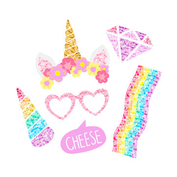 Cute unicorn photo booth party props vector