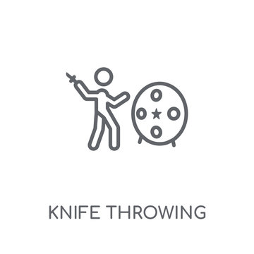 Knife Throwing linear icon. Modern outline Knife Throwing logo concept on white background from Circus collection