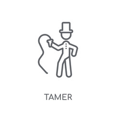 Tamer linear icon. Modern outline Tamer logo concept on white background from Circus collection