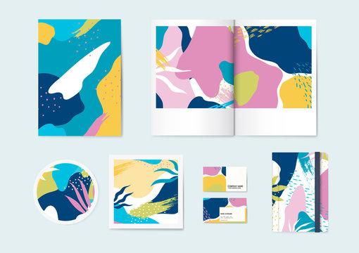 Colorful Memphis pattern vector set