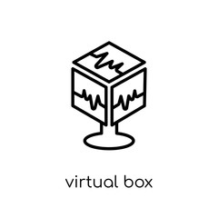 Virtual Box icon. Trendy modern flat linear vector Virtual Box icon on white background from thin line Technology collection