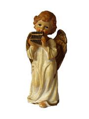 Engel mit Panflöte, Statuette isoliert, Dezember 2018