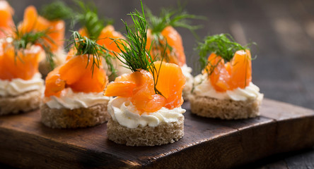 sushi with salmon and caviar