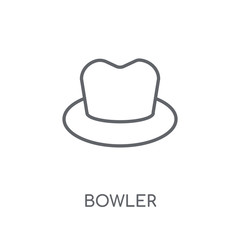 Bowler linear icon. Modern outline Bowler logo concept on white background from Clothes collection