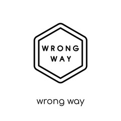 Wrong Way sign icon. Trendy modern flat linear vector Wrong Way sign icon on white background from thin line traffic sign collection