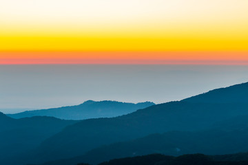 Sunset over mountains in thailand.