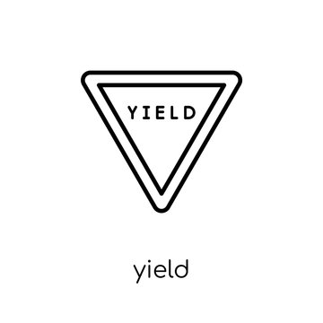 Yield sign icon. Trendy modern flat linear vector Yield sign icon on white background from thin line traffic sign collection