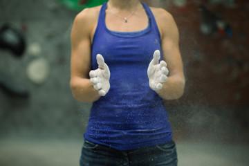 woman training at climbing gym