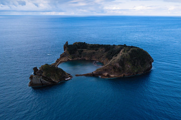 Bird's eye view Islet of Vila Franca do Campo near San Miguel island, Azores, Portugal.