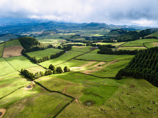 View of green fields of San Miguel island, Azores, Portugal.