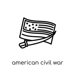 american civil war icon. Trendy modern flat linear vector american civil war icon on white background from thin line United States of America collection