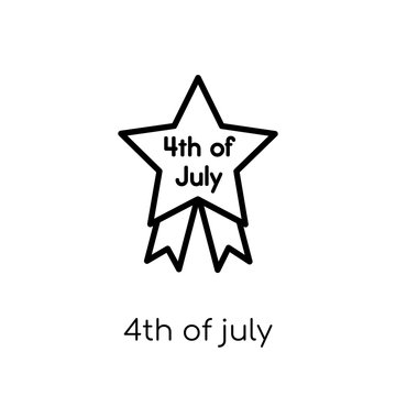 4th of july icon. Trendy modern flat linear vector 4th of july icon on white background from thin line United States of America collection