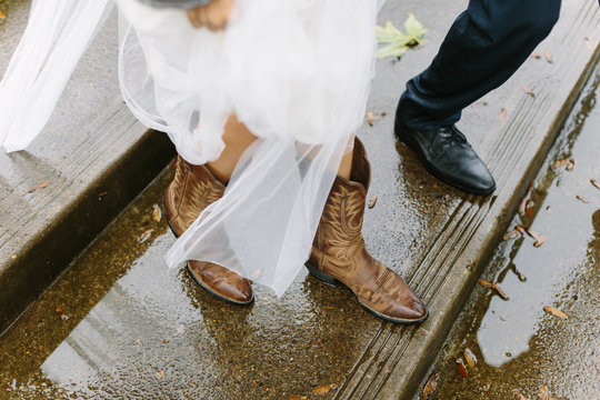 Close Up of Wedding Couple's Shoes