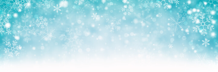 Falling Snowflakes Background Banner, Winter / Christmas Concept