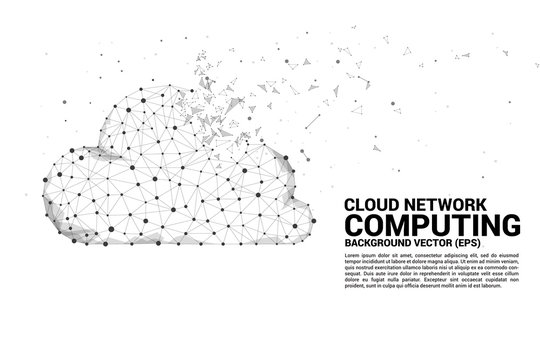 Cloud computing network concept polygon dot connected line. Concept of cloud server, Storage and data