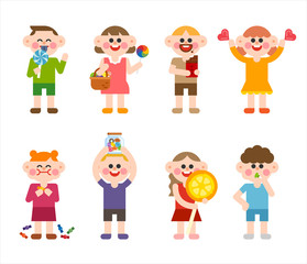 Cute children are eating sweet candy. character illustration set. flat design vector graphic style.