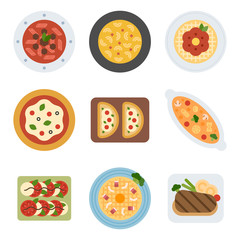 various menu food set illustration. flat design vector graphic style.