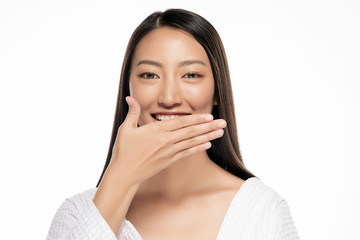 Beautiful Asian woman hands gag on White Blackground.
