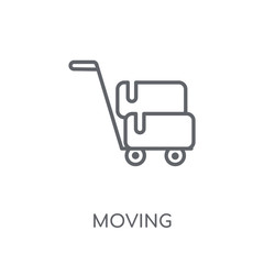 Moving linear icon. Modern outline Moving logo concept on white background from Delivery and logistics collection