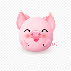 Cute little pig. 2019 New Year symbol.