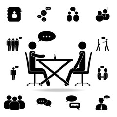 business communication at the table icon. Detailed set of conversation icons. Premium graphic design. One of the collection icons for websites, web design, mobile app