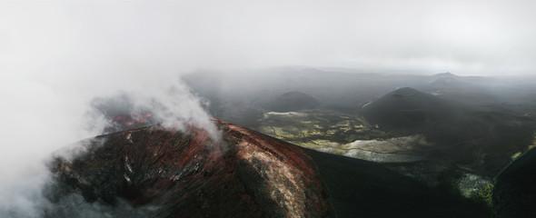 panoramic shot of epic volcanoes in Kamchatka, Russia