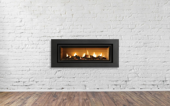 Gas Fireplace on white brick wall in bright empty living room interior of house