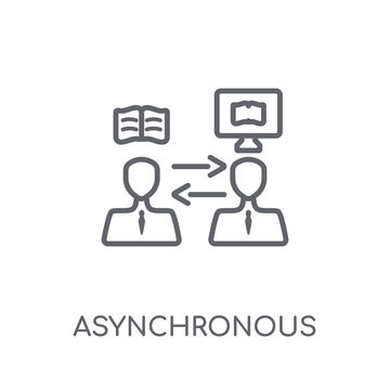 Asynchronous Learning linear icon. Modern outline Asynchronous Learning logo concept on white background from E-learning and education collection