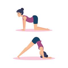 Set of Girls doing yoga design